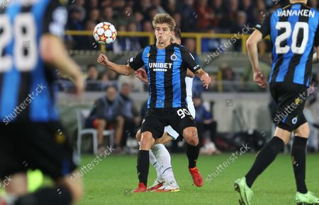 Club's Charles De Ketelaere and Manchester City's Ruben Dias fight for the ball during a game between Belgian soccer team Club Brugge and English club Manchester City, Tuesday 19 October 2021, in Brugge, Belgium, the third (out of six) in the Group A of the UEFA Champions League group stage.