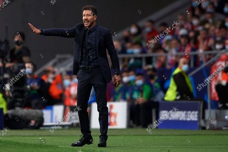 Diego Simeone head coach of Atletico Madrid gives instructions during the UEFA Champions League group B match between Atletico Madrid and Liverpool FC at Wanda Metropolitano on October 19, 2021 in Madrid, Spain.