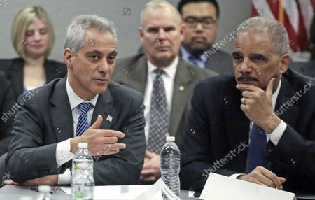 From Left, Chicago Mayor Rahm Emanuel, and U.S. Attorney General Eric Holder participate in a roundtable discussion with police and community leaders in Chicago. Emanuel is set to appear before the Senate Foreign Relations Committee, for his confirmation hearing on his nomination to be ambassador to Japan