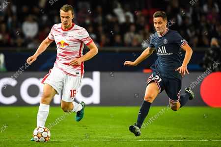 Stock Picture of Lukas KLOSTERMANN of RB Leipzig and Ander HERRERA of PSG