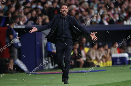Stock Image of Atletico Madrid's head coach Diego Simeone reacts during the UEFA Champions League group B soccer match between Atletico Madrid and Liverpool FC at Wanda Metropolitano stadium in Madrid, Spain, 19 October 2021.