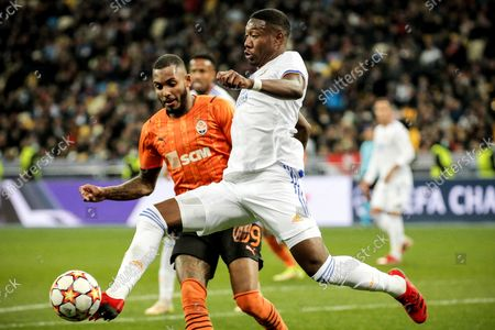 Real's David Alaba (R) in action against Shakhtar's Fernando (L) during the UEFA Champions League group D soccer match between Shakhtar Donetsk and Real Madrid in Kiev, Ukraine, 19 October 2021.