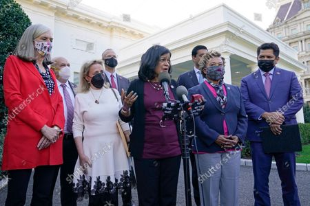 Rep. Pramila Jayapal, D-Wash., the chair of the Congressional Progressive Caucus, center, talks with reporters outside the West Wing of the White House in Washington, following a meeting with President Joe Biden. She is joined by, from left, Katherine Clark, D-Mass., Rep. Mark Pocan, D-Wisc., Rep. Debbie Dingell, D-Mich., Rep. Jared Huffman, D-Calif., Rep. Ritchie Torres, D-N.Y., partially hidden, Rep. Barbara Lee, D-Calif., and Rep. Jimmy Gomez, D-Calif., right