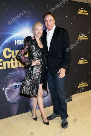 Kevin Nealon (R) and US actress Susan Yeagley arrive for the Season 11 premiere of the HBO comedy show Curb Your Enthusiasm at Paramount Studios in Los Angeles, California, USA, 19 October 2021.