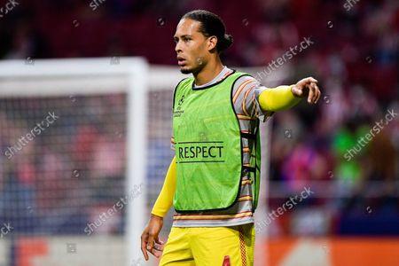 Virgil van Dijk of Liverpool warms up