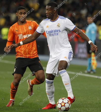 Stock Picture of David Alaba (R) of Real Madrid and Head (L) of Shakhtar Donetsk in action during the UEFA Champions League, group D football match at the Olimpiyskiy stadium in Kyiv, Ukraine, October 19, 2021.