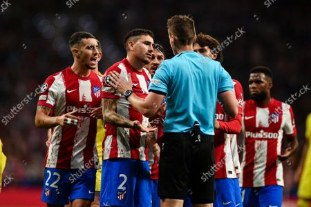 Mario Hermoso, Josema Gimenez, Koke, Joao Felix and Thomas Lemar during UEFA Champions League match between Atletico de Madrid and Liverpool FC at Wanda Metropolitano on October 19, 2021 in Madrid, Spain.
