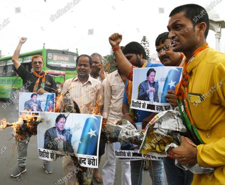BJP activists demonstrating and burning effigy of Pakistani Prime Minister Imran Khan in protest against the recent killing of Bihari by terrorists in Kashmir, at Kargil Chowk on October 18, 2021 in Patna, India.