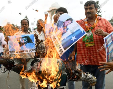 Stock Photo of BJP activists demonstrating and burning effigy of Pakistani Prime Minister Imran Khan in protest against the recent killing of Bihari by terrorists in Kashmir, at Kargil Chowk on October 18, 2021 in Patna, India.