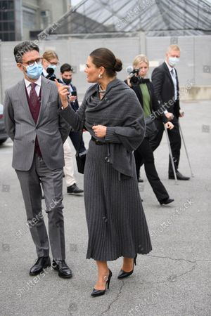 Crown Princess Victoria at the Fiat factory in Turin, Italy, on Oct. 20, 2021. The Crown Princess Couple is on a three-day visit to Italy with a Swedish trade delegation.