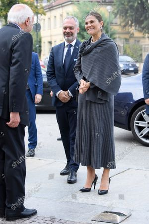 Crown Princess Victoria visits Unione Industriale, Turin, Italy, on Oct. 20, 2021. The Crown Princess Couple is on a three-day visit to Italy with a Swedish trade delegation.