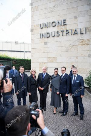 Crown Princess Victoria, Prince Daniel, Sweden's Minister for Foreign Trade Anna Hallberg and Ambassador Jan Bjorklund visit Unione Industriale, Turin, Italy, on Oct. 20, 2021. The Crown Princess Couple is on a three-day visit to Italy with a Swedish trade delegation.