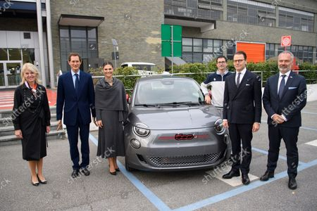 Sweden's Minister for Foreign Trade, Anna Hallberg, John Elkann, Crown Princess Victoria, Prince Daniel and Ambassador Jan Bjorklund at the Fiat factory in Turin, Italy
