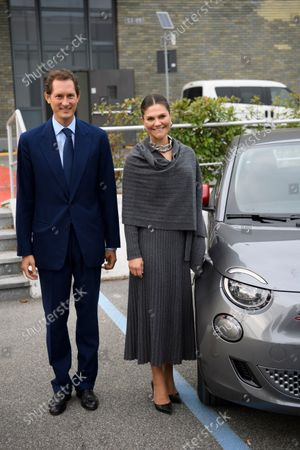 John Elkann and Crown Princess Victoria at the Fiat factory in Turin, Italy