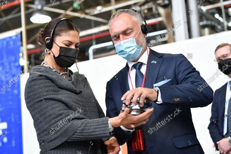 Crown Princess Victoria and Jan Bjorklund, Sweden's Ambassador to Italy, visit SKF Airasca in Turin, Italy