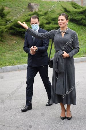 Crown Princess Victoria and Prince Daniel arrive at the Fiat factory in Turin, Italy, on Oct. 20, 2021. The Crown Princess Couple is on a three-day visit to Italy with a Swedish trade delegation.