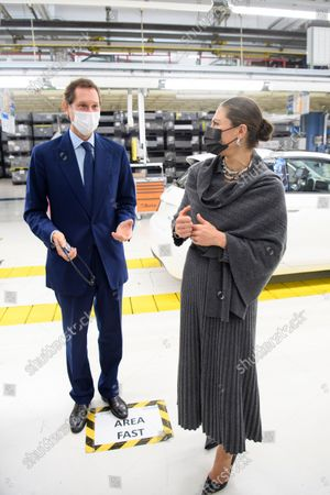 John Elkann and Crown Princess Victoria at the Fiat factory in Turin, Italy, on Oct. 20, 2021. The Crown Princess Couple is on a three-day visit to Italy with a Swedish trade delegation.