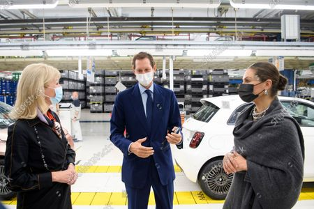 Sweden's Minister for Foreign Trade, Anna Hallberg, John Elkann and Crown Princess Victoria at the Fiat factory in Turin, Italy, on Oct. 20, 2021. The Crown Princess Couple is on a three-day visit to Italy with a Swedish trade delegation.