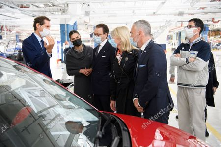 John Elkann, Crown Princess Victoria, Prince Daniel, Sweden's Minister for Foreign Trade, Anna Hallberg, Ambassador Jan Bjorklund and plant manager Luigi Barbieri at the Fiat factory in Turin, Italy, on Oct. 20, 2021. The Crown Princess Couple is on a three-day visit to Italy with a Swedish trade delegation.