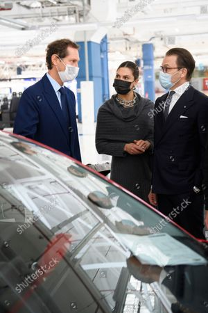 Crown Princess Victoria, Prince Daniel and John Elkann at the Fiat factory in Turin, Italy, on Oct. 20, 2021. The Crown Princess Couple is on a three-day visit to Italy with a Swedish trade delegation.