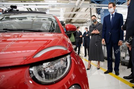 Crown Princess Victoria and John Elkann at the Fiat factory in Turin, Italy, on Oct. 20, 2021. The Crown Princess Couple is on a three-day visit to Italy with a Swedish trade delegation.