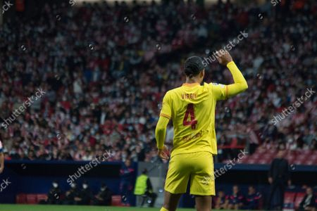 Stock Picture of Virgil Van Dijk claim for the ball. More than 55.000 people comes to see the match between Atlético de Madrid and Liverpool, Griezmann twice and Mohamed Salah two times too, makes the majority of the goals, for a match which the final score was 2 to 3 whit victory of Liverpool.