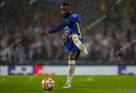 Antonio Rudiger of Chelsea passes the ball