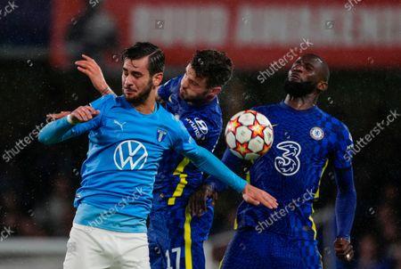 Saul Niguez of Chelsea battles with Adi Nalic of Malmo