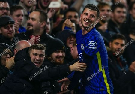 Mason Mount of Chelsea reacts with the fans