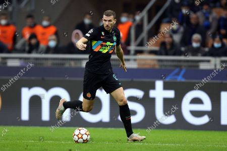 Edin Dzeko of Fc Internazionale controls the ball during the Uefa Champions League Group D match between FC Internazionale and FC Sheriff.