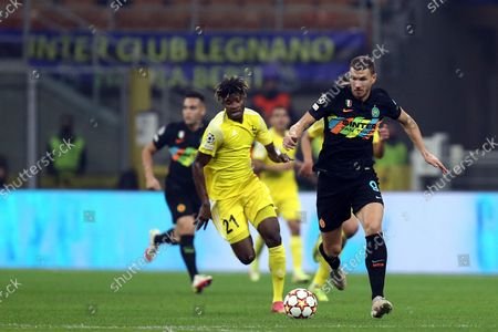 Stock Picture of Edin Dzeko of Fc Internazionale controls the ball during the Uefa Champions League Group D match between FC Internazionale and FC Sheriff.