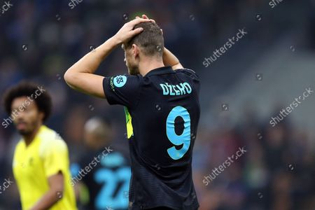 Edin Dzeko of Fc Internazionale looks dejected during the Uefa Champions League Group D match between FC Internazionale and FC Sheriff.