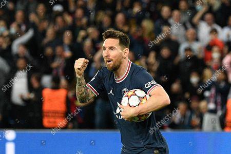 Lionel Messi celebrates after a goal