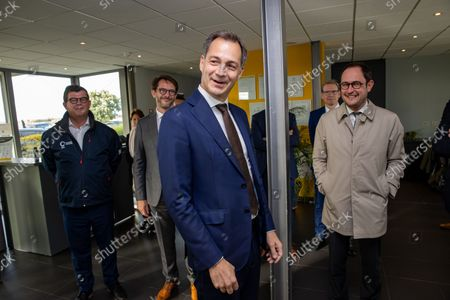 Stock Photo of Oostende mayor Bart Tommelein, Prime Minister Alexander De Croo and Justice Minister Vincent Van Quickenborne pictured during the inauguration of the first zone of an offshore wind farm in the North Sea, Wednesday 20 October 2021 in Oostende.