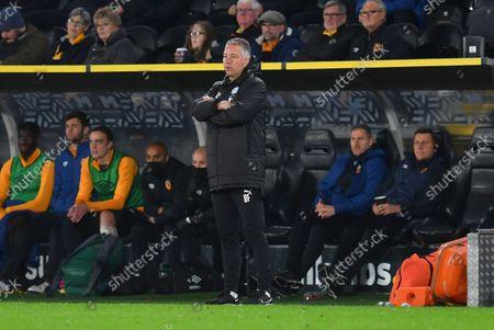 Peterborough United Manager Darren Ferguson  (m) during the EFL Sky Bet Championship match between Hull City and Peterborough United at the MKM Stadium, Kingston upon Hull
