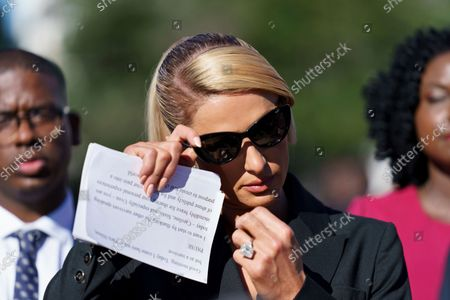 Hotel heiress and reality television star Paris Hilton, lends her celebrity to support legislation to establish a bill of rights for children placed in congregate care facilities, at the Capitol on . Hilton says she was traumatized as a teenager when she was sent by her family to abusive care facilities