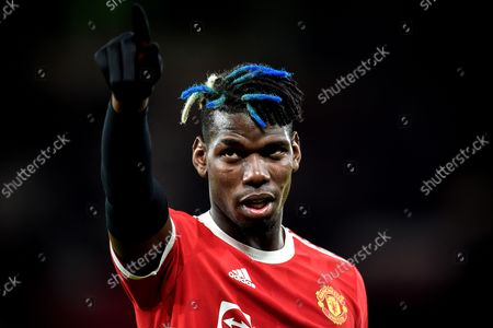 Manchester United's Paul Pogba reacts after winning the UEFA Champions League group F soccer match between Manchester United and Atalanta BC in Manchester, Britain, 20 October 2021.