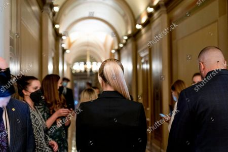Hotel heiress and reality television star Paris Hilton walks through the Capitol in Washington, . Hilton was on Capitol Hill Wednesday to lend her celebrity to support legislation to establish a bill of rights for children placed in congregate care facilities
