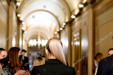 Stock Picture of Hotel heiress and reality television star Paris Hilton walks through the Capitol in Washington, . Hilton was on Capitol Hill Wednesday to lend her celebrity to support legislation to establish a bill of rights for children placed in congregate care facilities