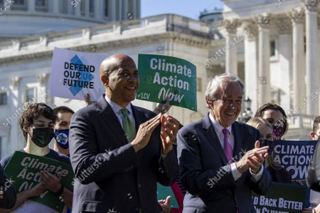 Rep. Cory Booker D-N.J. and Sen. Edward Markey D-MA stand together as part of the Climate Action Campaign press conference at the U.S. Capitol in Washington, DC on Wednesday, October 20, 2021.