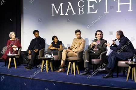"""Angie Errigo, Corey Hawkins, Kathryn Hunter, Alex Hassell, Harry Melling and Bertie Carvel attend Apple's special screening and Q+A of """"The Tragedy Of Macbeth"""" at The Ham Yard Hotel. Apple and A24's """"The Tragedy Of Macbeth"""" will premiere in select UK cinemas in December and globally on Apple TV+ January 14, 2022."""