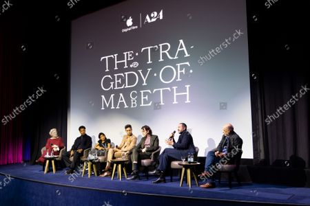 """Angie Errigo, Corey Hawkins, Kathryn Hunter, Alex Hassell, Harry Melling, Bertie Carvel and Bruno Delbonnel attend Apple's special screening and Q+A of """"The Tragedy Of Macbeth"""" at The Ham Yard Hotel. Apple and A24's """"The Tragedy Of Macbeth"""" will premiere in select UK cinemas in December and globally on Apple TV+ January 14, 2022."""