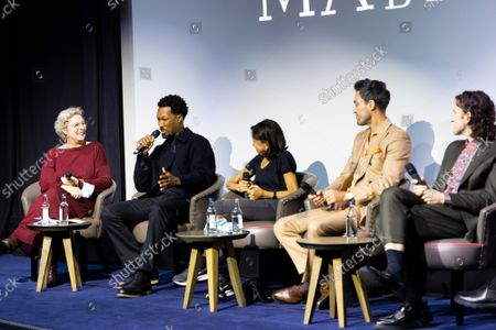 """Angie Errigo, Correy Hawkins, Kathryn Hunter, Alex Hassell and Harry Melling attend Apple's special screening and Q+A of """"The Tragedy Of Macbeth"""" at The Ham Yard Hotel. Apple and A24's """"The Tragedy Of Macbeth"""" will premiere in select UK cinemas in December and globally on Apple TV+ January 14, 2022."""