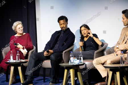 """Angie Errigo, Corey Hawkins, Kathryn Hunter and Alex Hassell attend Apple's special screening and Q+A of """"The Tragedy Of Macbeth"""" at The Ham Yard Hotel. Apple and A24's """"The Tragedy Of Macbeth"""" will premiere in select UK cinemas in December and globally on Apple TV+ January 14, 2022."""