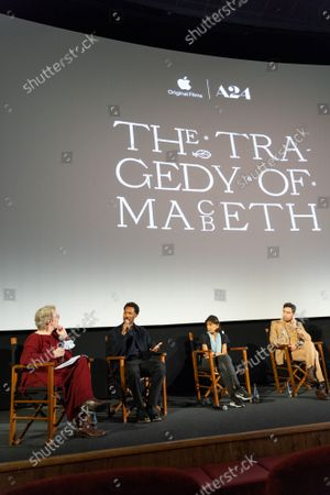 """Angie Errigo, Corey Hawkins, Kathryn Hunter, Alex Hassell and Harry Mellingl attend Apple's special screening and Q+A of """"The Tragedy Of Macbeth"""" at Picturehouse Central. Apple and A24's """"The Tragedy Of Macbeth"""" will premiere in select UK cinemas in December and globally on Apple TV+ January 14, 2022."""