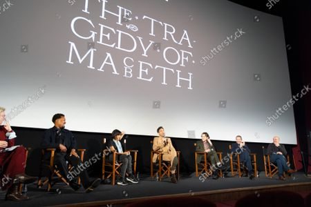 """Angie Errigo, Corey Hawkins, Kathryn Hunter, Alex Hassell, Harry Melling, Bertie Carvel and Bruno Delbonnel attends Apple's special screening and Q+A of """"The Tragedy Of Macbeth"""" at Picturehouse Central. Apple and A24's """"The Tragedy Of Macbeth"""" will premiere in select UK cinemas in December and globally on Apple TV+ January 14, 2022."""