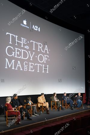 """Angie Errigo, Corey Hawkins, Kathryn Hunter, Alex Hassell, Harry Melling, Bertie Carvel and Bruno Delbonnel attend Apple's special screening and Q+A of """"The Tragedy Of Macbeth"""" at Picturehouse Central. Apple and A24's """"The Tragedy Of Macbeth"""" will premiere in select UK cinemas in December and globally on Apple TV+ January 14, 2022."""