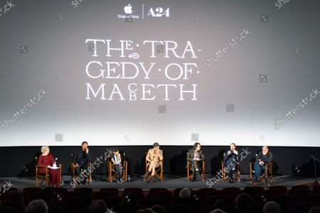 """Stock Photo of Angie Errigo, Corey Hawkins, Kathryn Hunter, Alex Hassell, Harry Melling, Bertie Carvel and Bruno Delbonnel attend Apple's special screening and Q+A of """"The Tragedy Of Macbeth"""" at Picturehouse Central. Apple and A24's """"The Tragedy Of Macbeth"""" will premiere in select UK cinemas in December and globally on Apple TV+ January 14, 2022."""