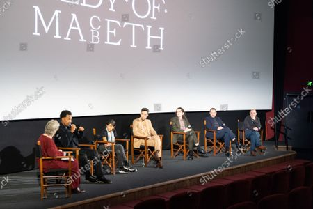 """Stock Image of Angie Errigo, Corey Hawkins, Kathryn Hunter, Alex Hassell, Harry Melling, Bertie Carvel and Bruno Delbonnel attend Apple's special screening and Q+A of """"The Tragedy Of Macbeth"""" at Picturehouse Central. Apple and A24's """"The Tragedy Of Macbeth"""" will premiere in select UK cinemas in December and globally on Apple TV+ January 14, 2022."""