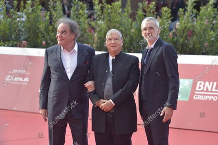 """Oliver Stone, Carlo Siliotto and Igor Lopatonok  attend the red carpet of the movie """"JFK - Destiny Betrayed"""" and """"Qazaq. History Of The Golden Man"""" during the 16th Rome Film Fest 2021 on October 20, 2021 in Rome, Italy."""